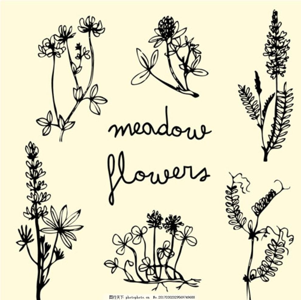 手绘春季花卉草图
