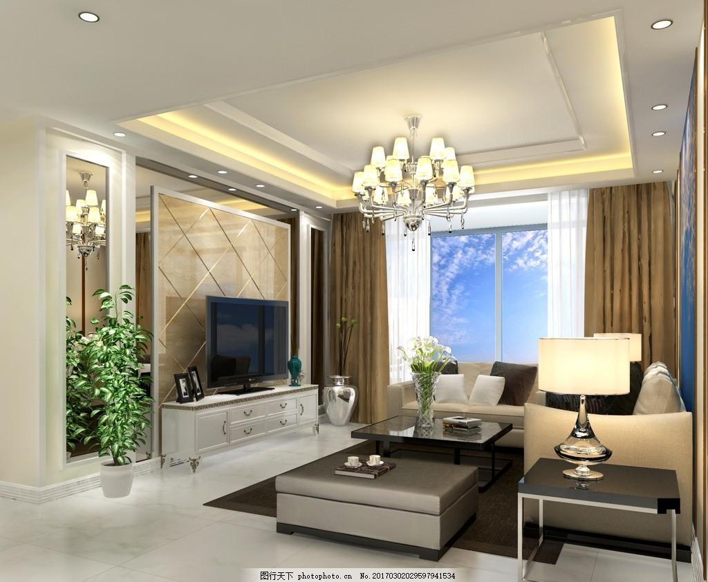 客厅 室内装修效果图,房间装修图 家具摆设 吊灯装饰