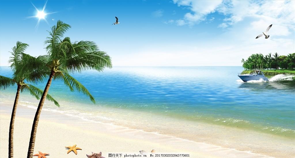 海风景 海景 沙滩 椰树 海鸟 海星 海岛 蓝天 白云 阳光 背景