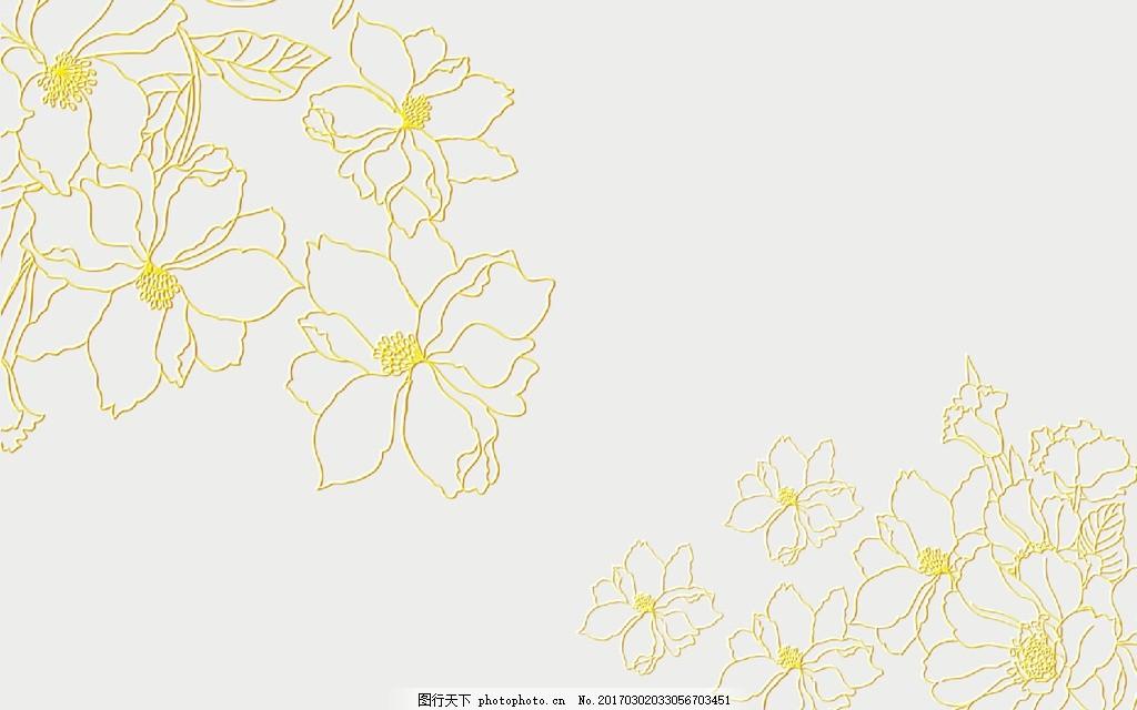 欧式手绘花朵背景墙
