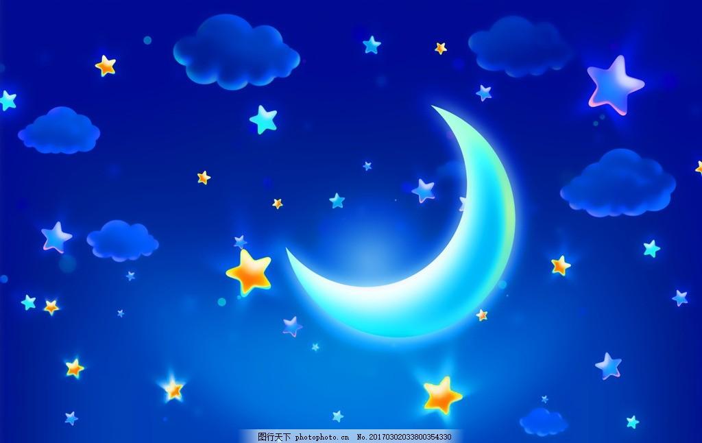 夜空 夜幕 星星 月亮 云 图片素材