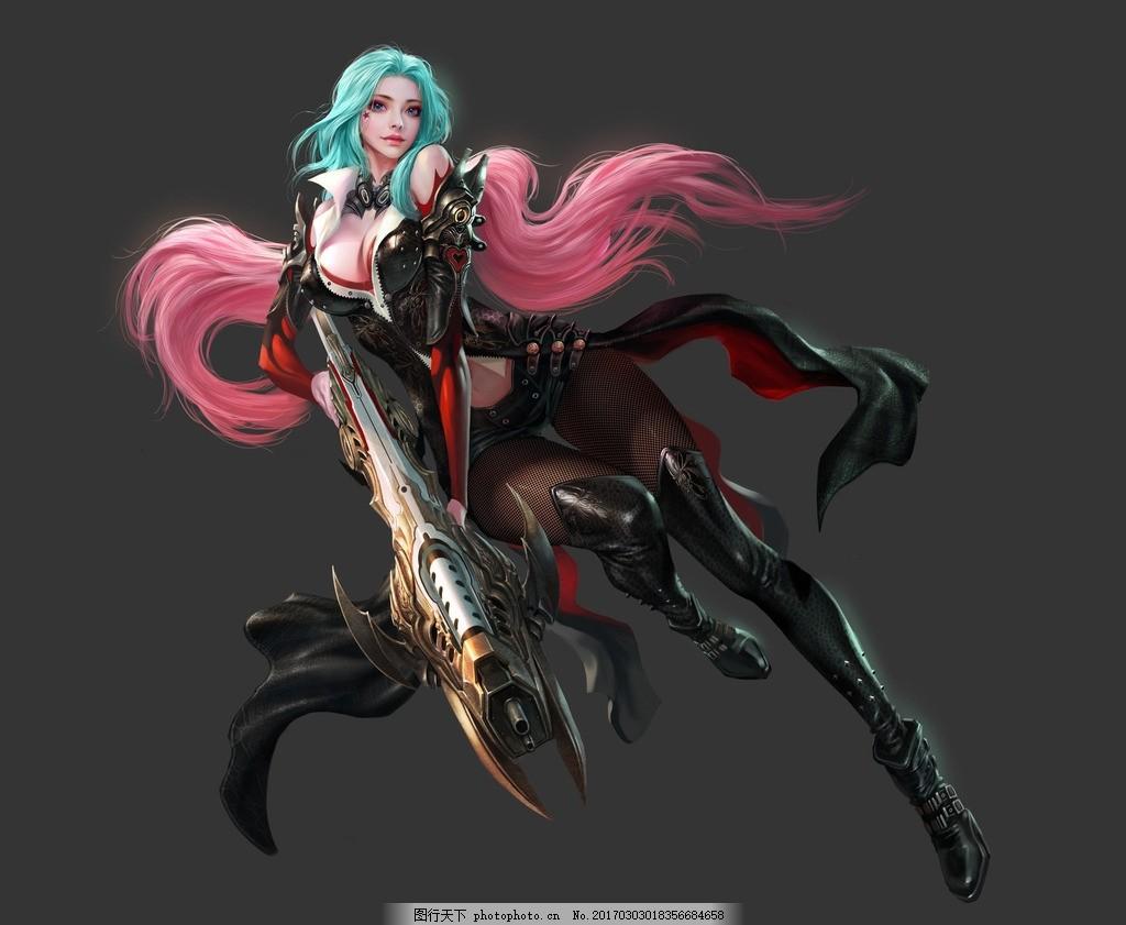 游戏 动漫 女枪手 美女 原画 游戏素材 设计 动漫动画 动漫人物 300