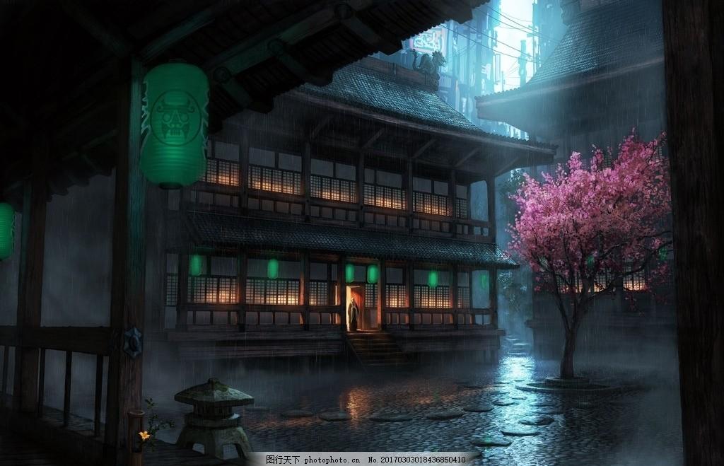 雨中小院 风景 壁纸 桌面 魔幻 视觉 风景 设计 动漫动画 风景漫画 72