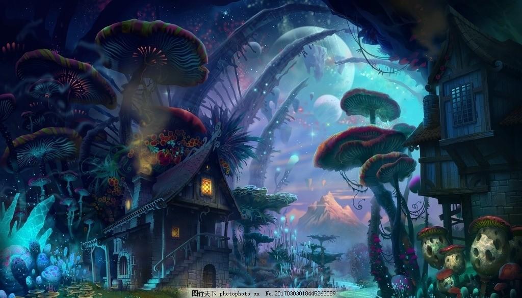 林中小屋 风景 壁纸 桌面 魔幻 视觉 风景 设计 动漫动画 风景漫画 72