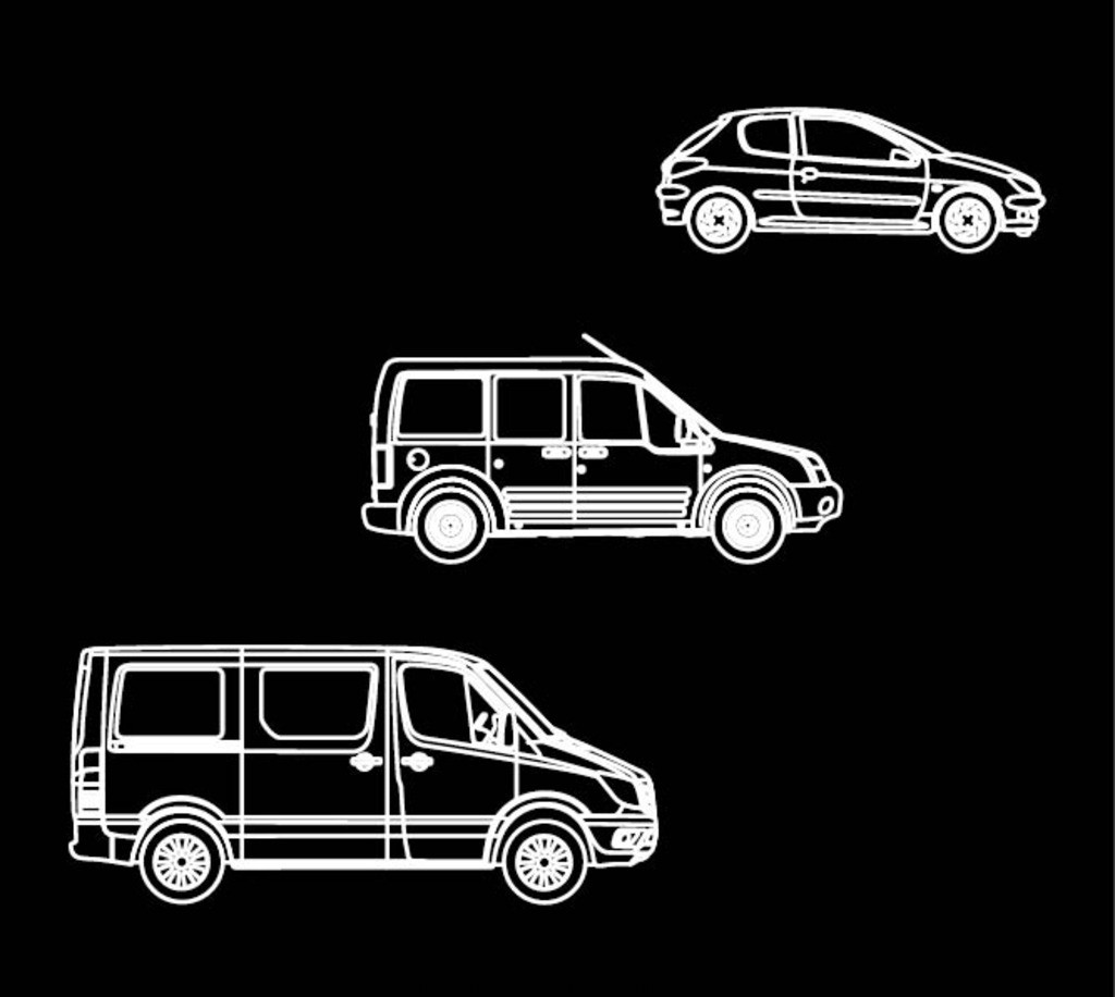 黑白简笔画汽车