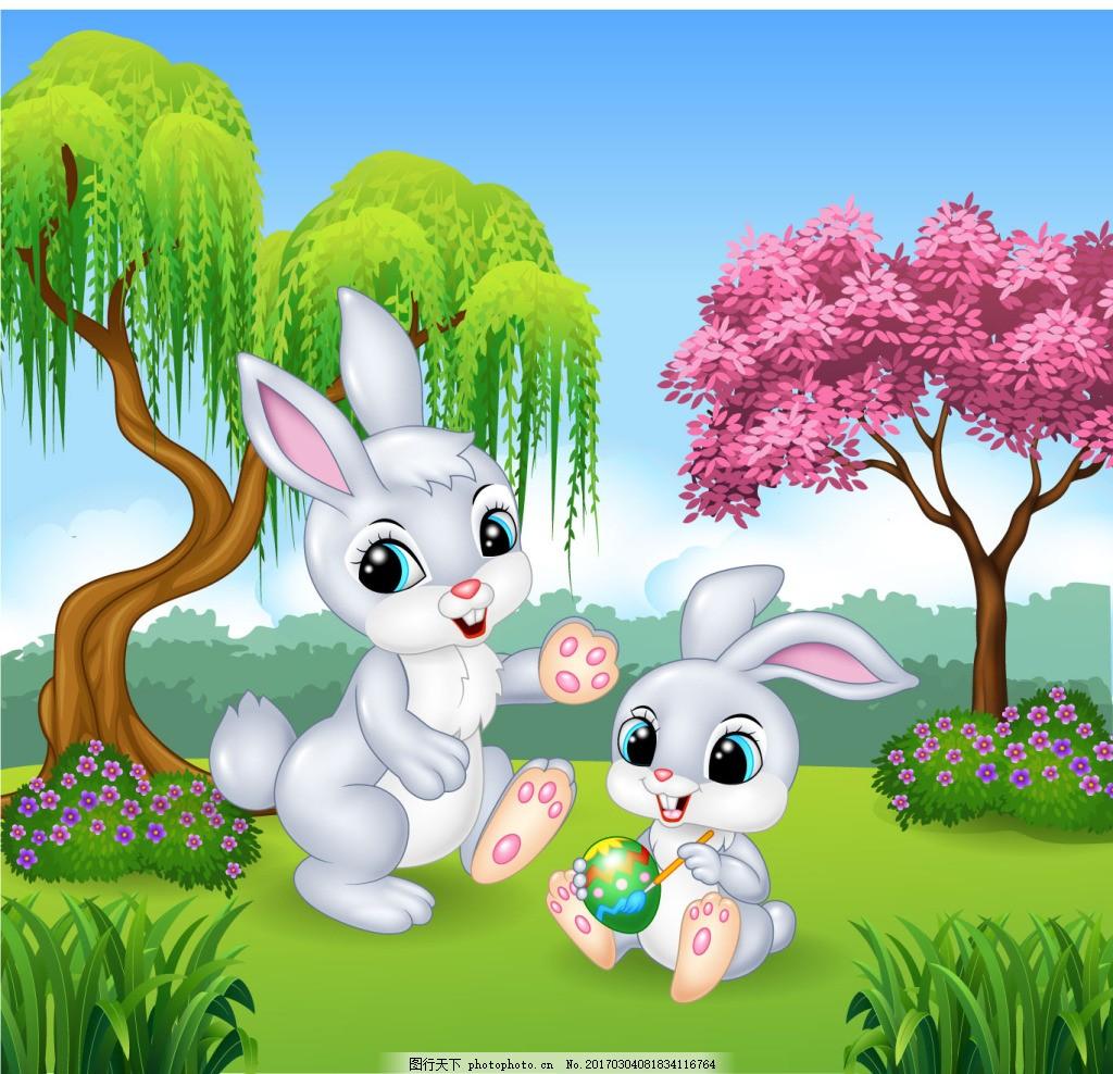 春天里兔子妈妈和小兔子