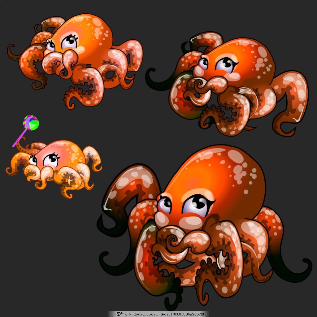 个性手绘章鱼卡通图