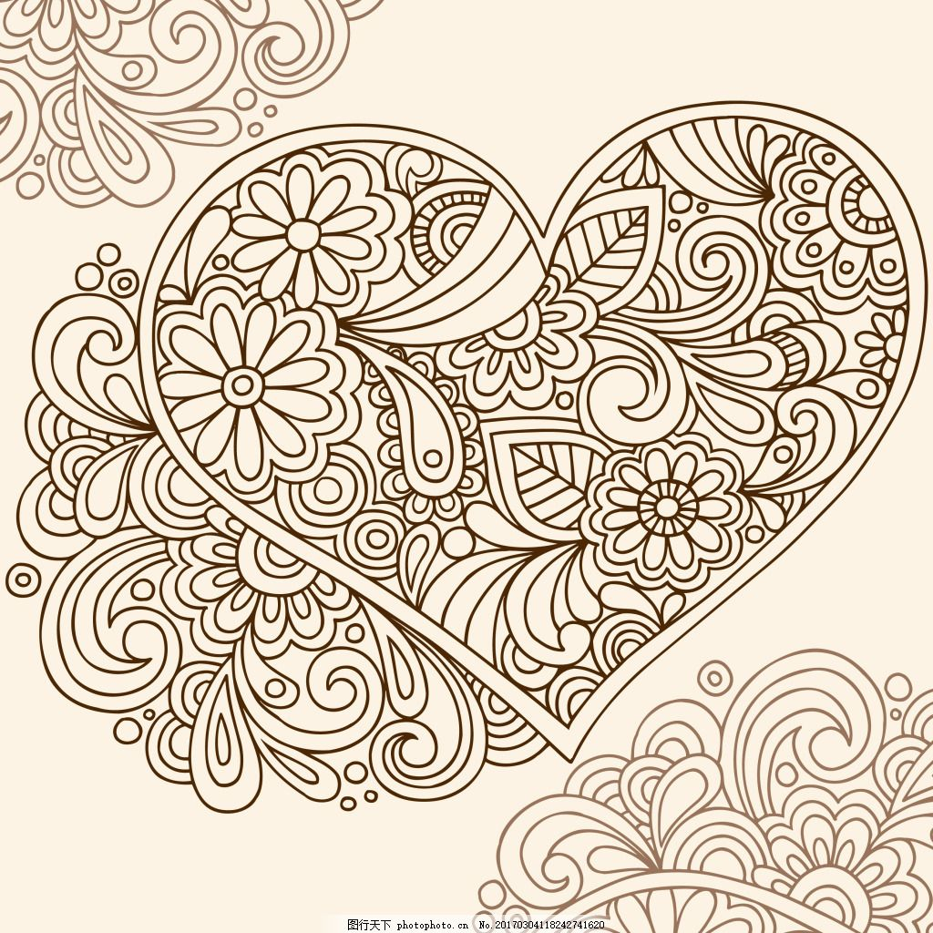手绘线条心形背景 矢量背景 抽象花纹 服装 纹理 矢量花纹 卡通