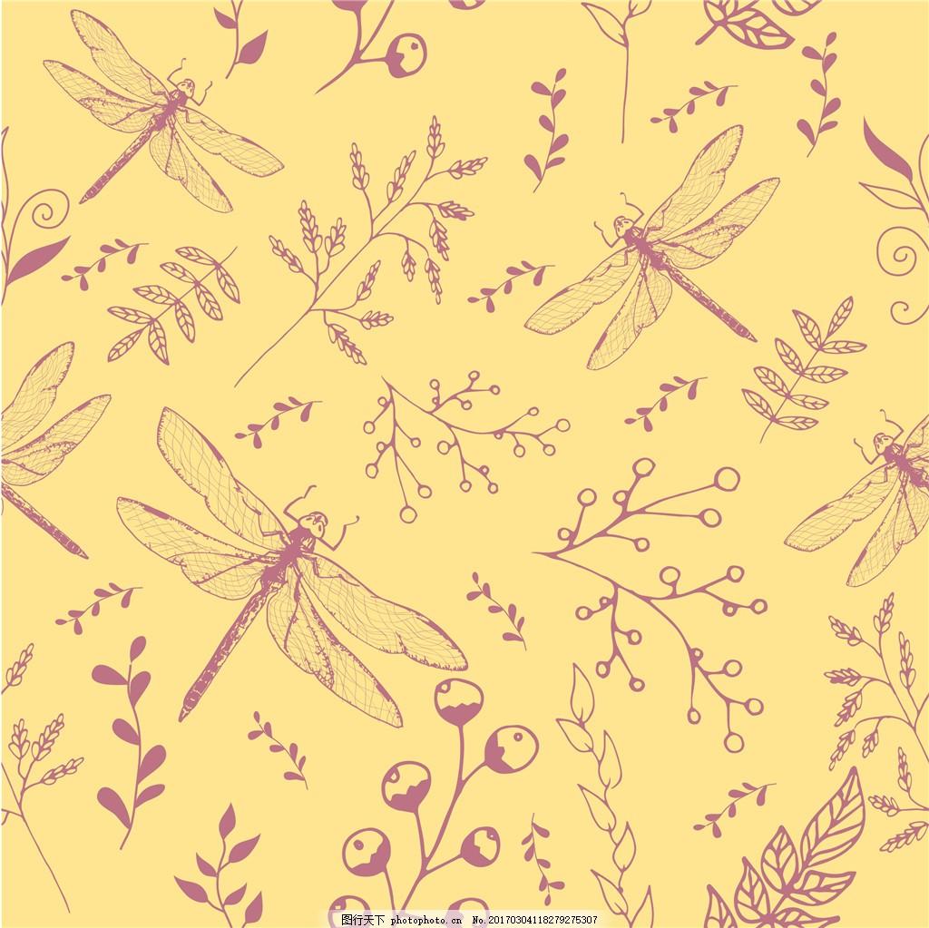 手绘蜻蜓背景 背景素材 手绘背景 手绘昆虫