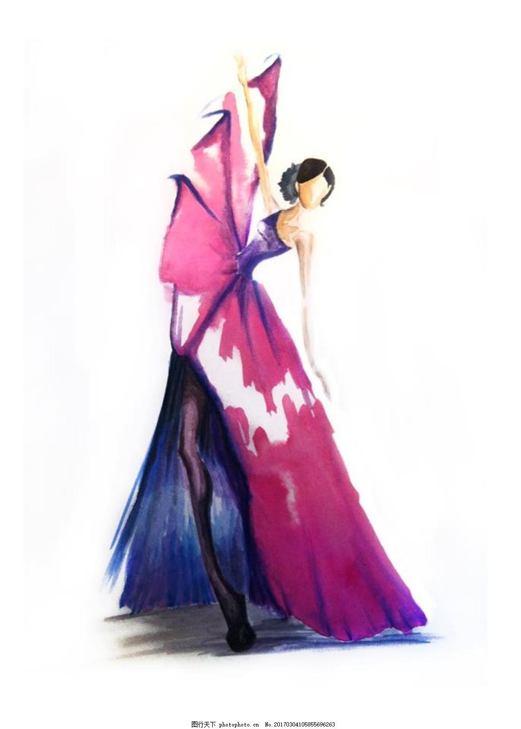 设计图库 现代科技 服装设计  单肩长裙礼服设计图 服装设计 时尚女装
