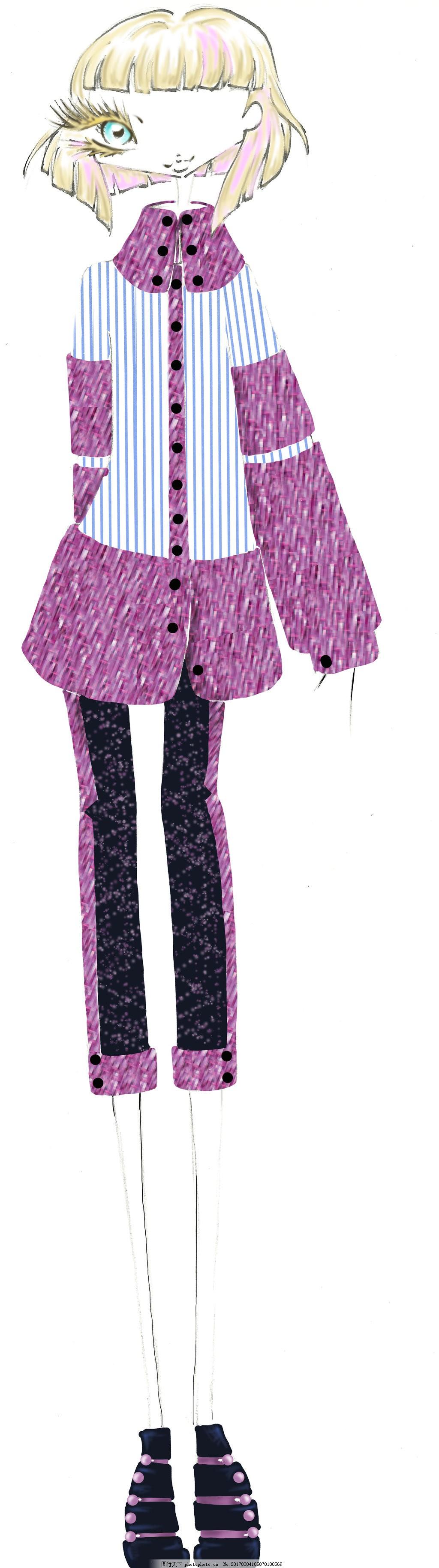 秋天款条纹女装设计图 服装设计 时尚女装 职业女装 职业装 女装设计