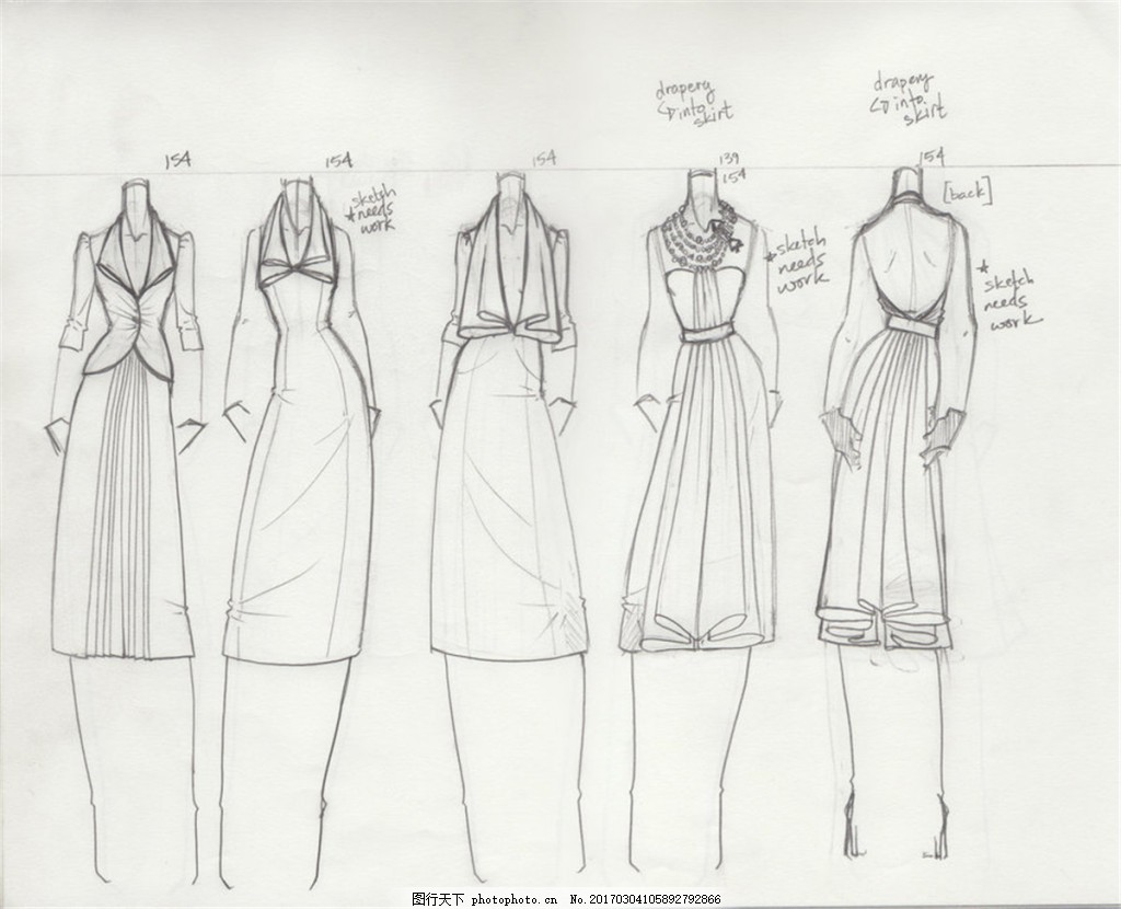 5款时尚连衣裙设计图 服装设计 时尚女装 职业女装 职业装 女装设计