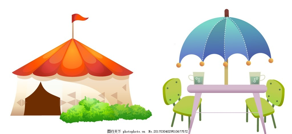蒙古包 遮阳伞 矢量素材 卡通素材 手绘素材 卡通蒙古包 矢量蒙古包