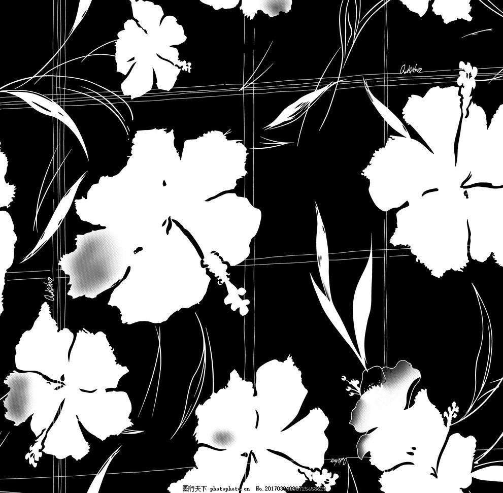 花朵 黑白花 简洁 花卉 印花 转移 600dpi 印花 设计 底纹边框 背景