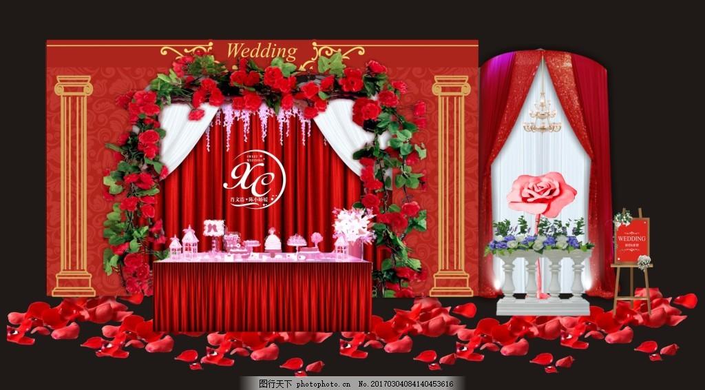 婚礼迎宾区 迎宾区 花藤 大红色 纱幔 欧式围栏 花瓣 水牌