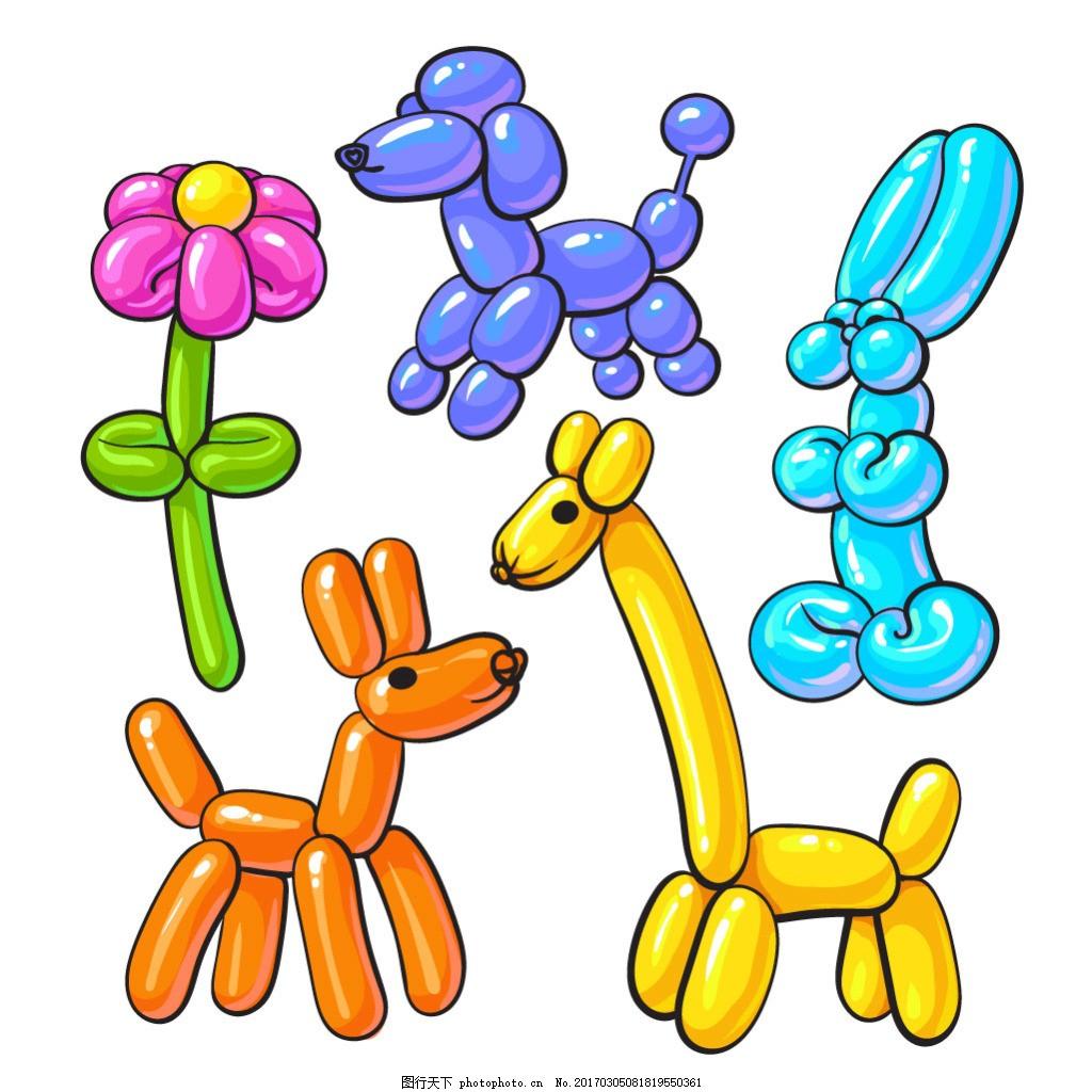 动物手绘形象气球效果
