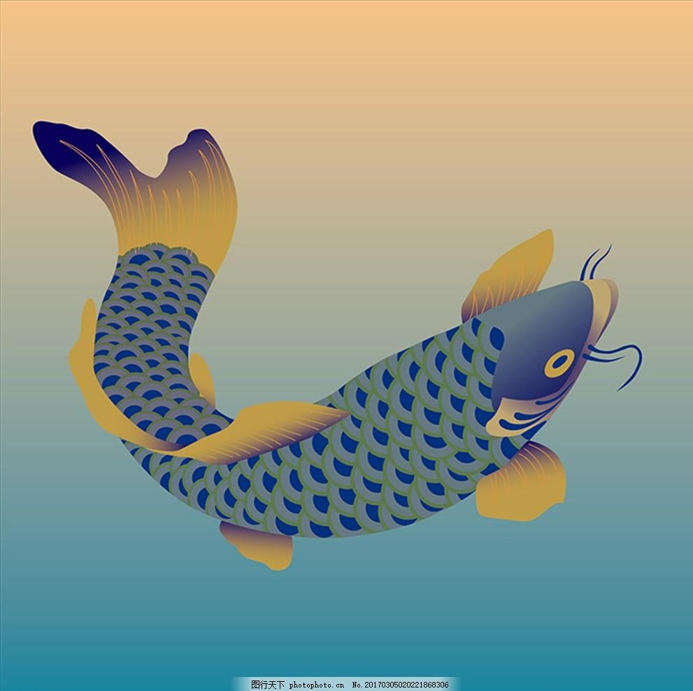 鱼手绘壁画 鲤鱼 鱼 鱼类 手绘鱼 水面 简笔画 花纹壁纸 墙纸 花纹