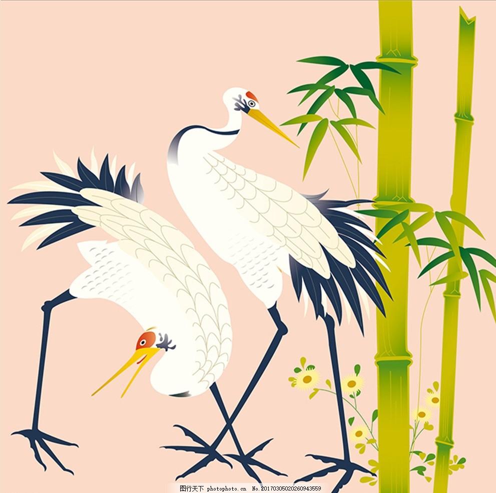 白鹤壁画 仙鹤 鹤群 鸟类 手绘 简笔画 花纹壁纸 墙纸 底纹