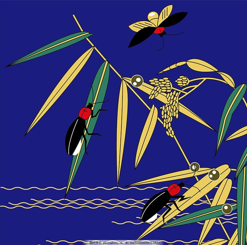 夏天夜晚昆虫壁画 夜色 河面 手绘 瓢虫 花纹壁纸 墙纸 底纹