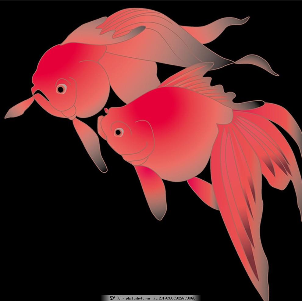 金鱼壁画 鱼类 手绘金鱼 简笔画 花纹壁纸 墙纸 底纹 纹理 花边
