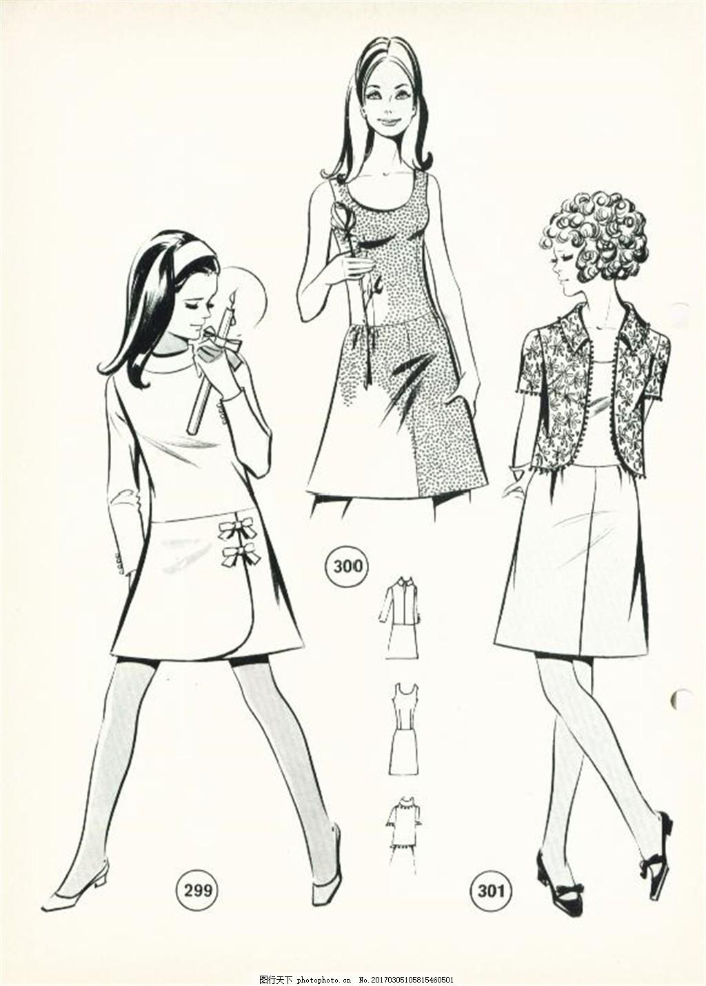 三款女装短裙设计图 服装设计 时尚女装 职业女装 职业装 女装设计