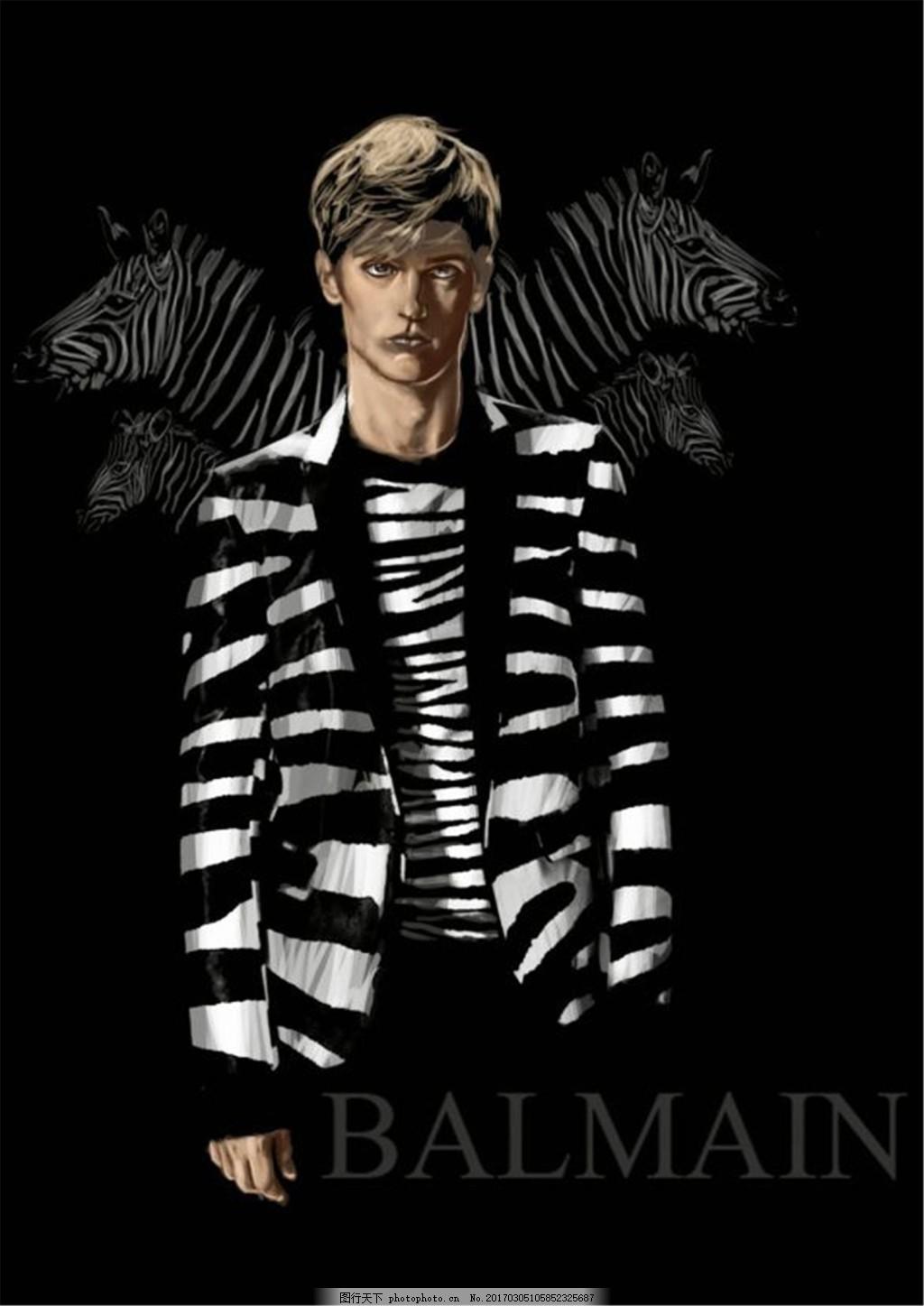 条纹男装设计图 服装设计 时尚男装 职业男装 职业装 男装设计效果图