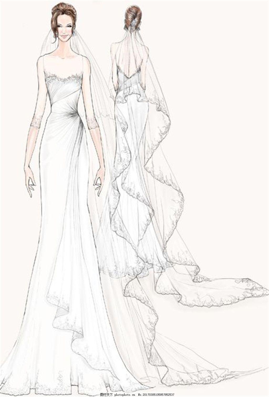 白色婚纱礼服设计图