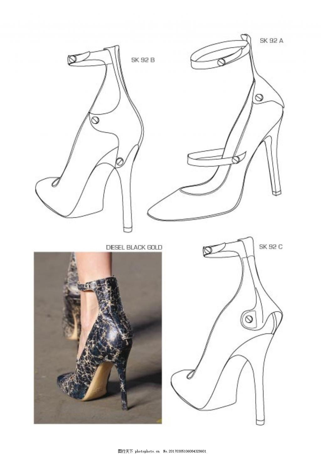 高跟鞋设计与实物图 高跟鞋 靴子 时尚女鞋 女鞋设计 平底鞋皮鞋 高邦