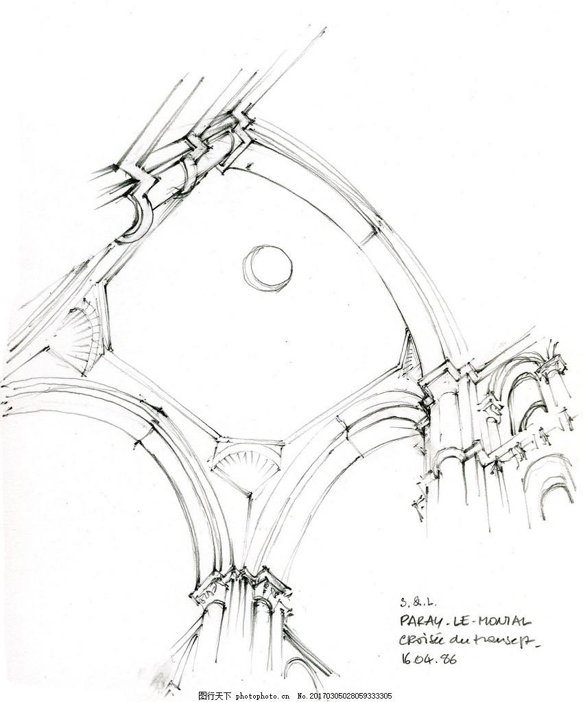 欧式罗马柱天花效果图 建筑平面图素材免费下载 手绘图 图纸 城堡