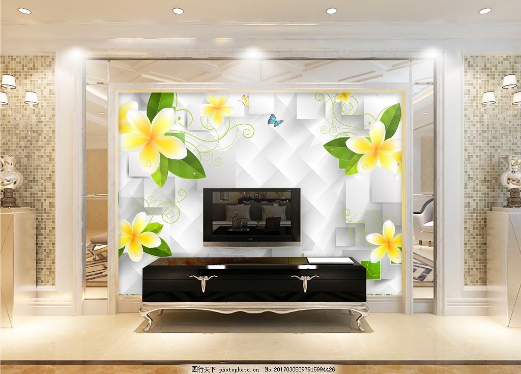 花卉元素方格子背景墙 壁纸 风景 高分辨率图片 高清大图 建筑