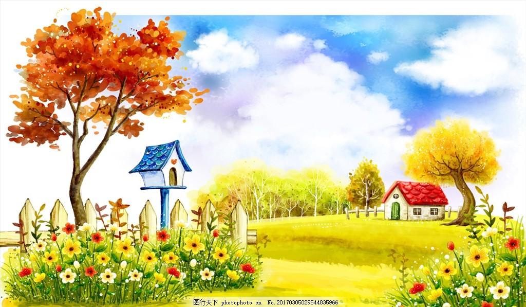 风景卡通画 风景 卡通 房子 枫叶 黄色小花 黄色背景 可爱风 绿色