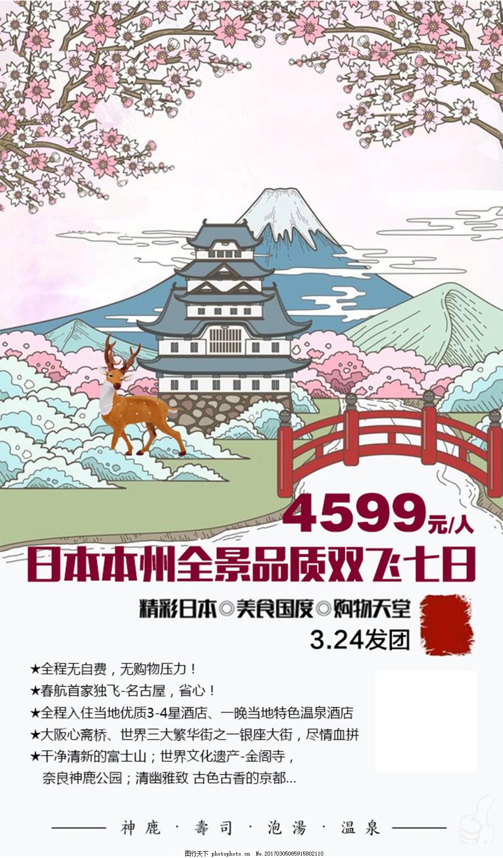 日本旅游海报 日本 旅游 奈良 富士山 手绘风 樱花