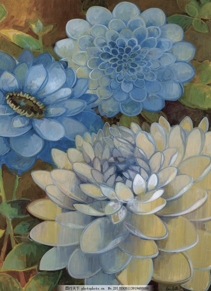 花朵花卉装饰画 花朵 装饰 油画 三联画 蝴蝶 设计 设计 文化艺术