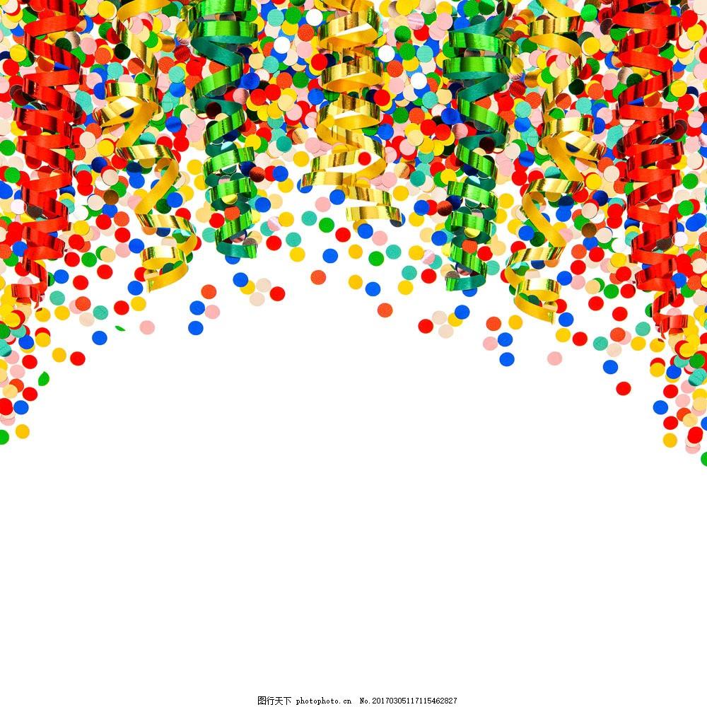 彩带与圆形纸片图片素材 彩带 丝带 圆形 纸片 纸屑 纸 节日庆典 生活