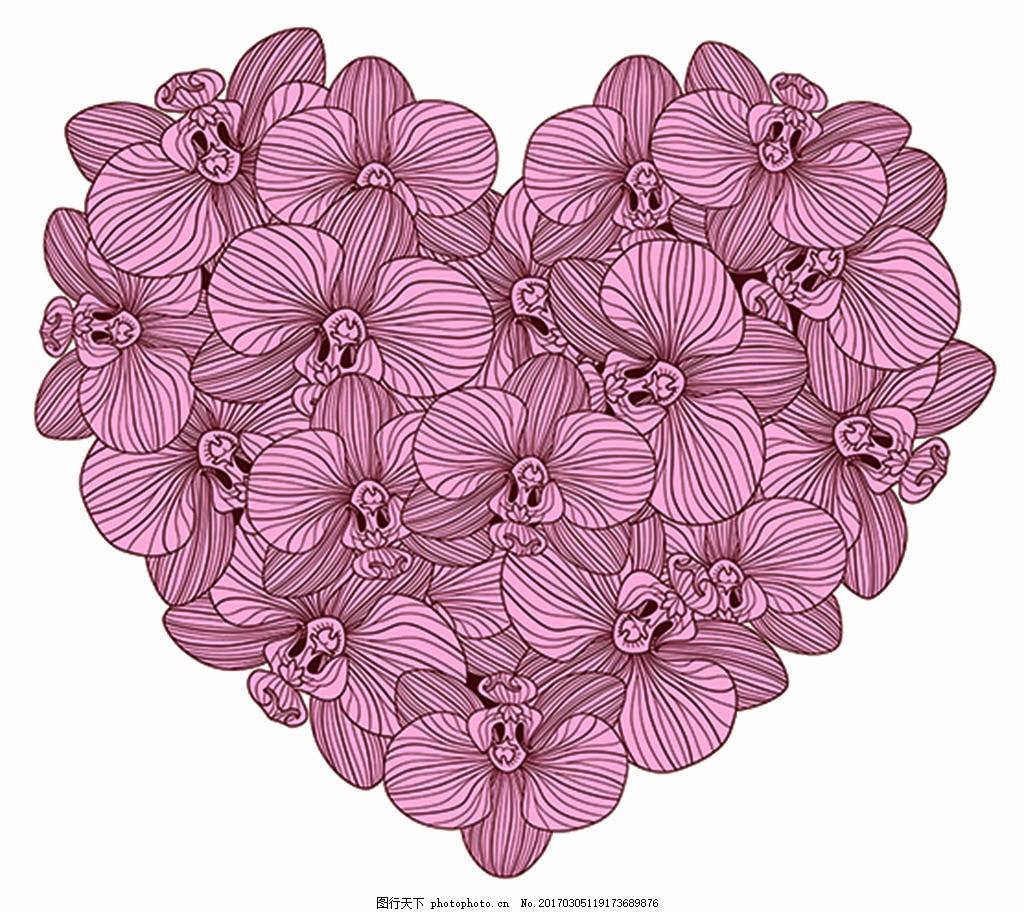 手绘画插画 花朵 矢量 美丽 清新 可爱