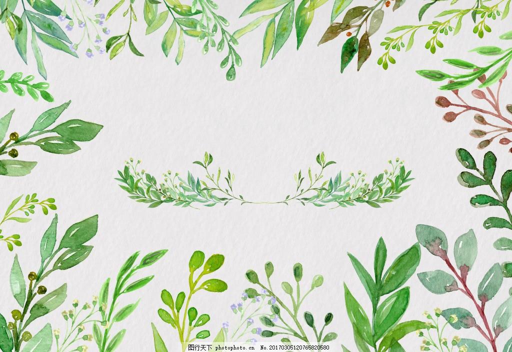 清新手绘叶子 海报 首页 淘宝 春季 夏季 手绘花卉 唯美 手绘海报