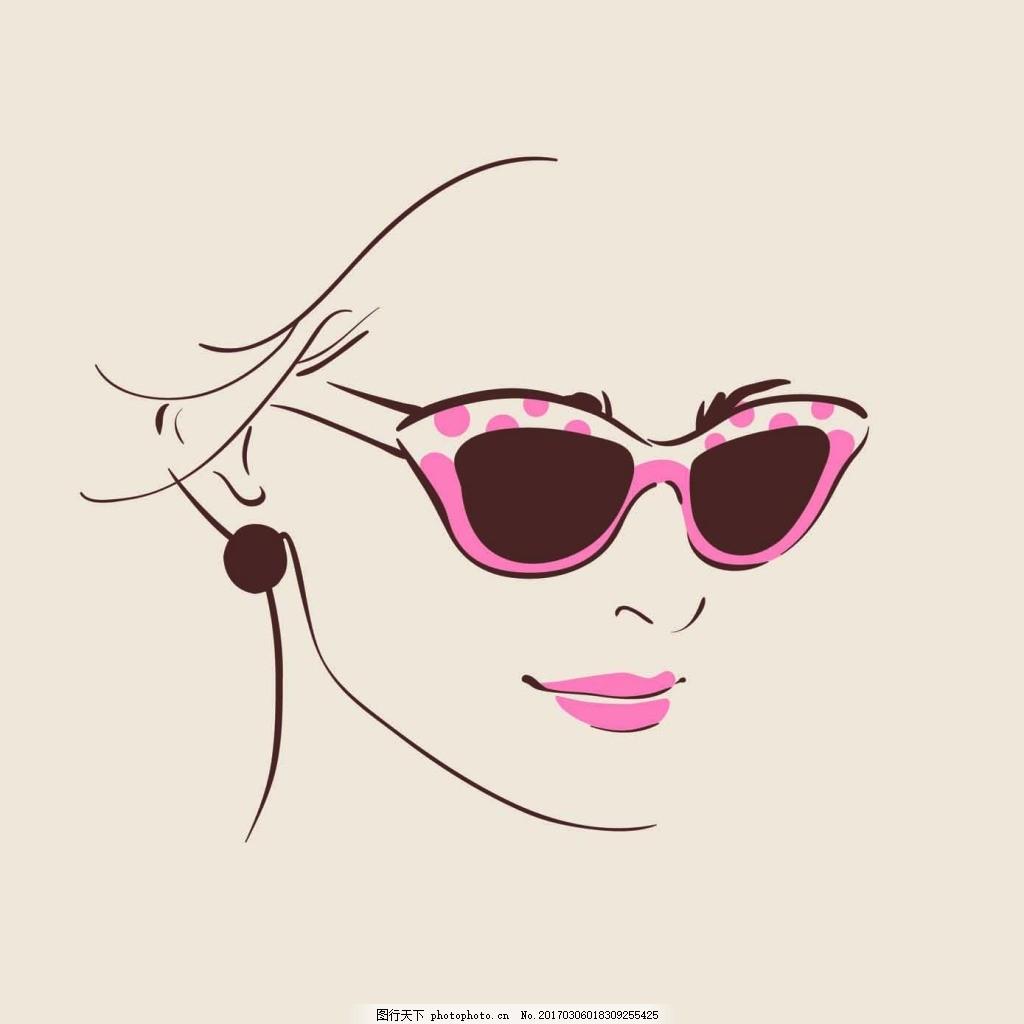 带墨镜的人头像 手绘 女生 人物