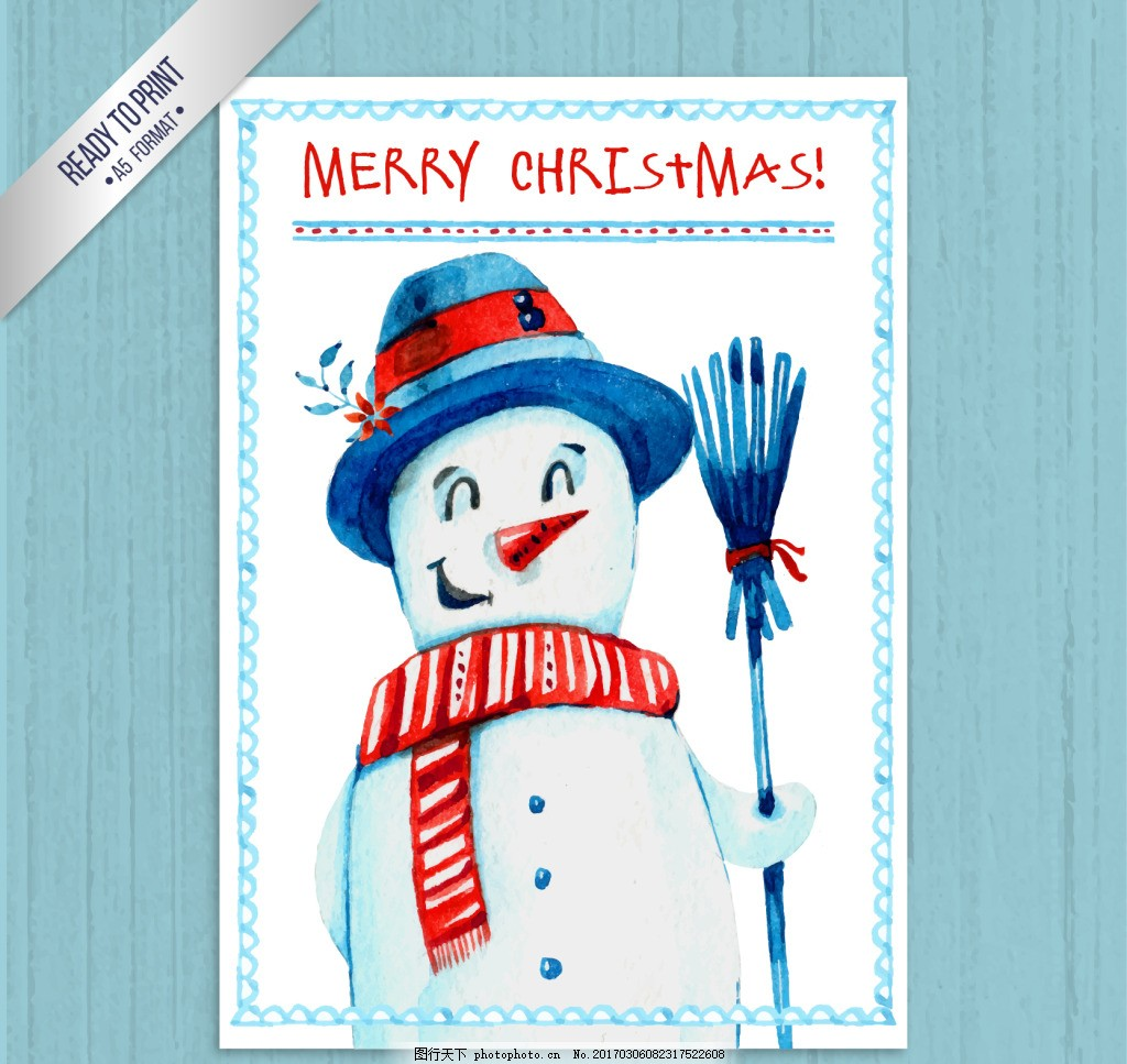 手绘雪人圣诞卡