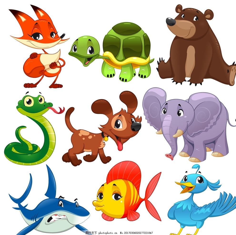 可爱动物 扁平化设计 动物头像 卡通动物矢量图 设计 底纹边框 背景