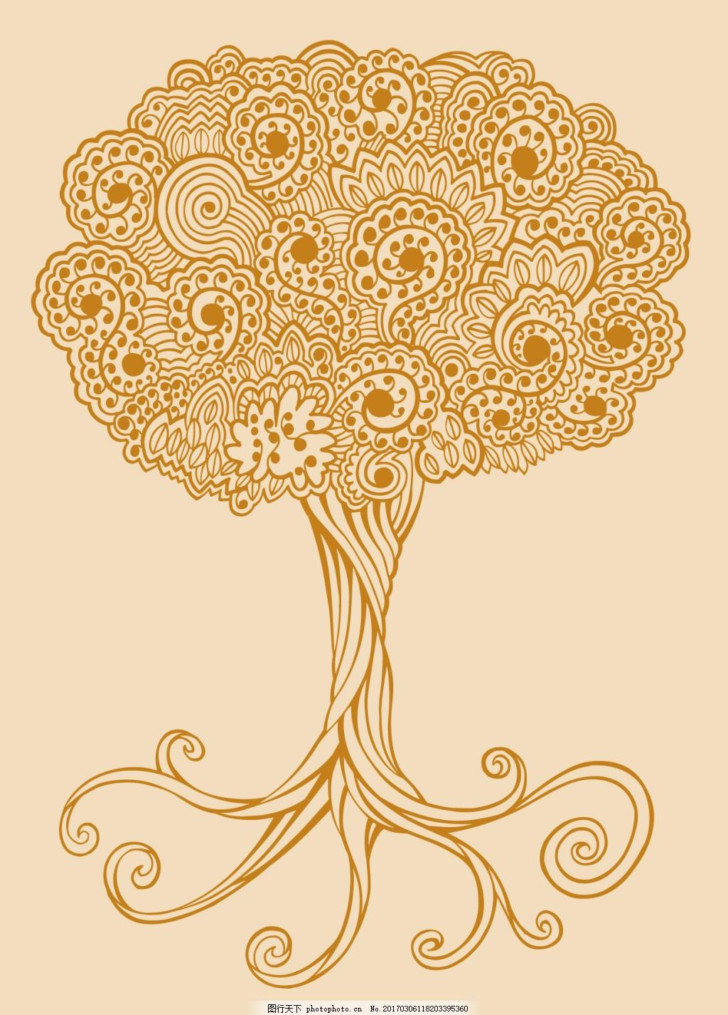 手绘线条树木 矢量背景 抽象花纹 服装 纹理 矢量花纹 卡通 欧美花纹