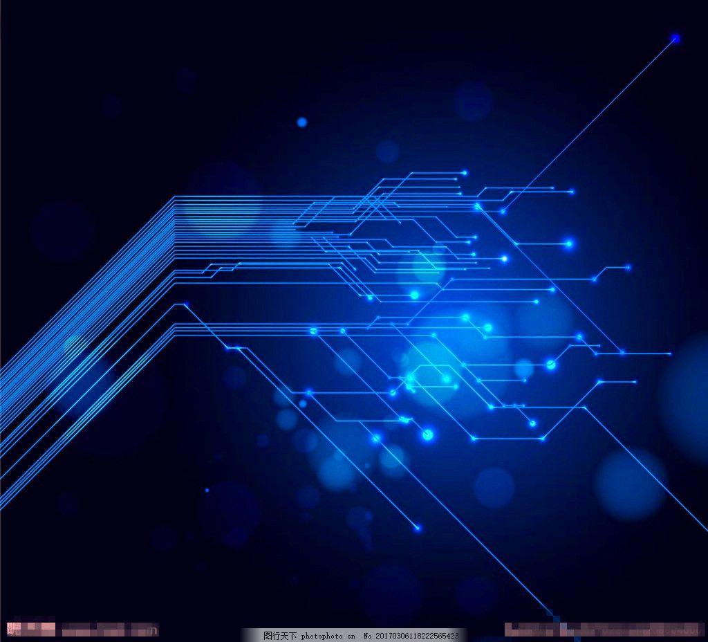 蓝色电路板背景 蓝色渐变背景 科技感背景 电路板背景 线条纹理 光晕