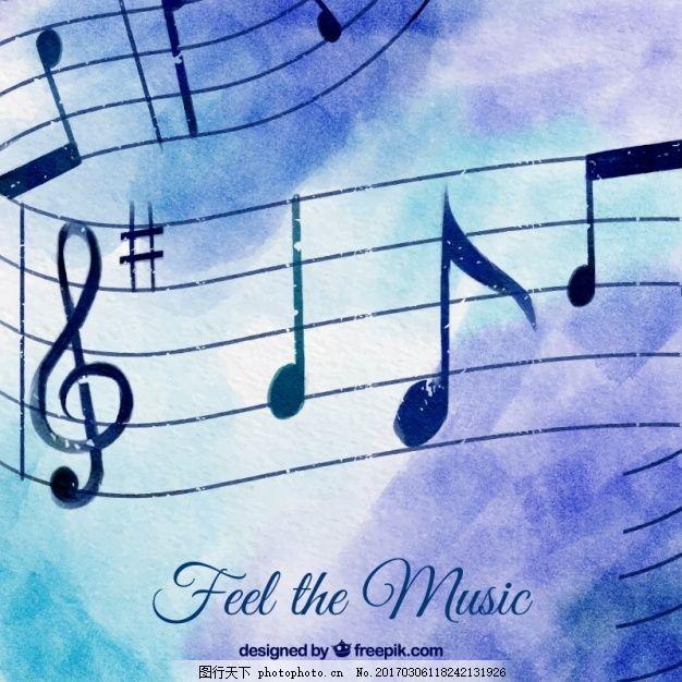 背景 水彩 音乐 水彩背景 注意 背景音乐 音乐的音符 音符 艺术 剪纸