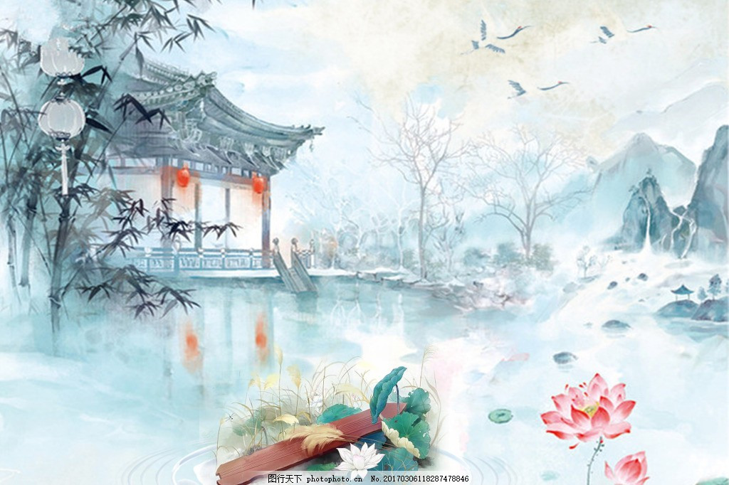 中国风背景 民族风 古风 古典 荷花 古典建筑 山水画 水彩