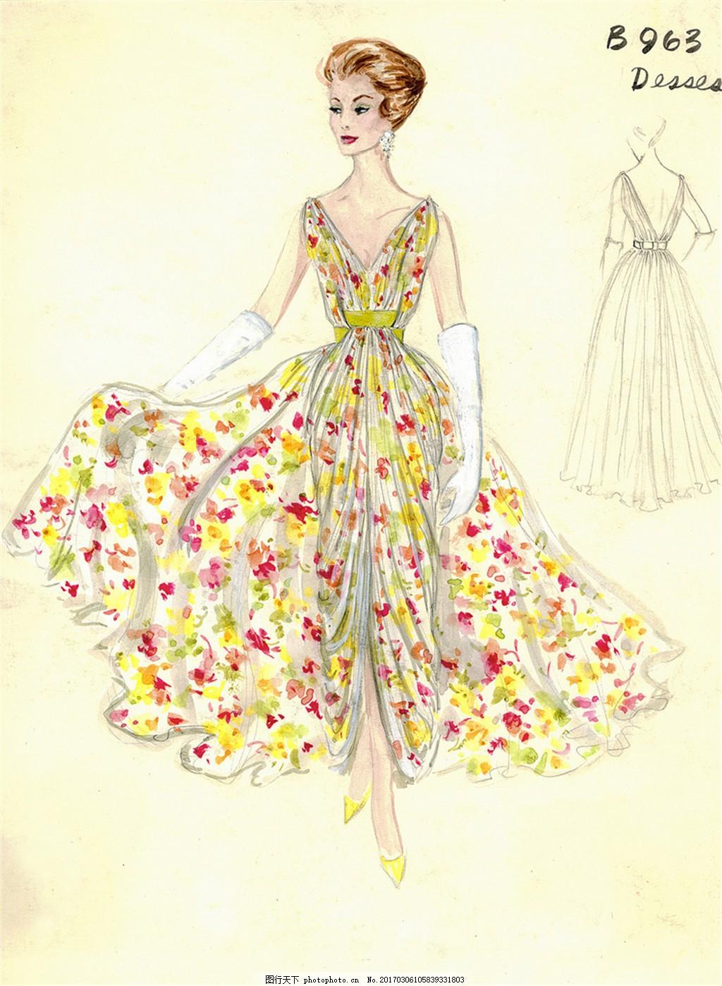 彩色深v礼服设计图