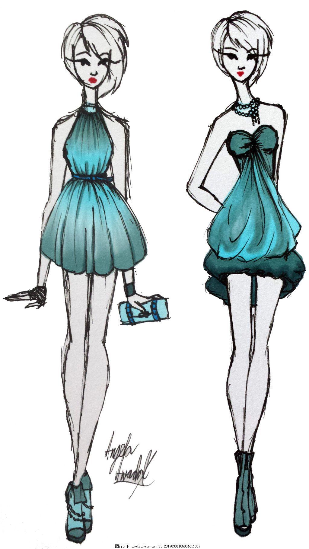 2款绿色连衣裙设计图 服装设计 时尚女装 职业女装 职业装 女装设计