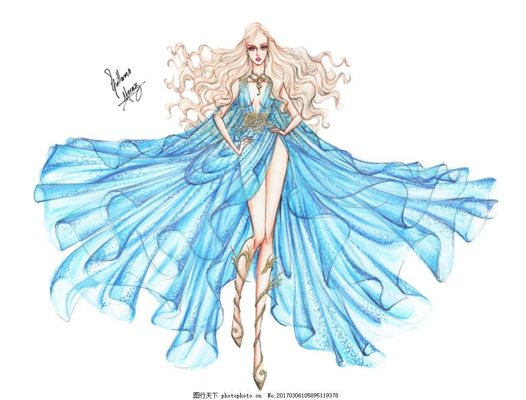 蓝色飘带礼服设计图 时尚女装 职业女装 职业装 女装设计效果图