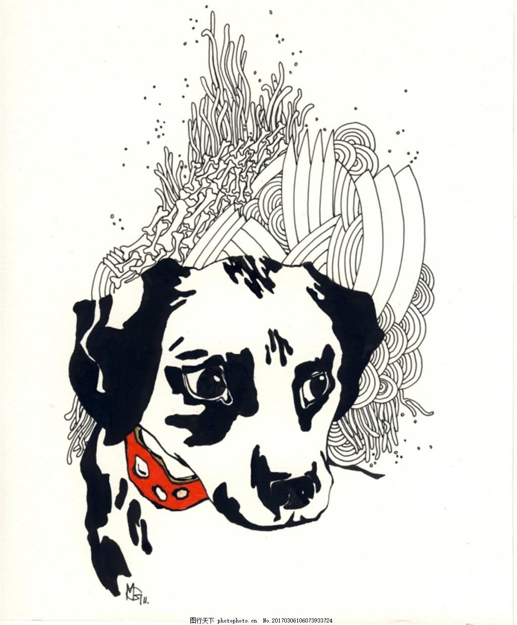 黑白斑点狗 动物 小狗 宠物 小狗图片下载