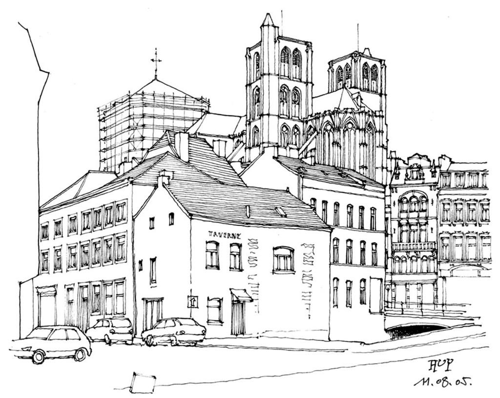 欧式建筑线条效果图