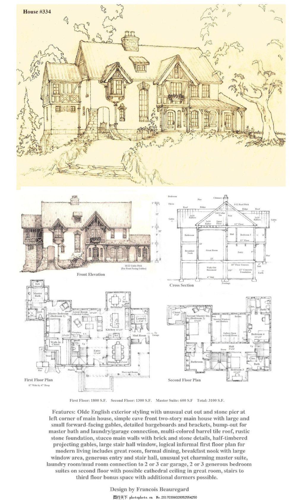 欧式建筑施工图 建筑平面图素材免费下载 手绘图 图纸 城堡 建筑效果
