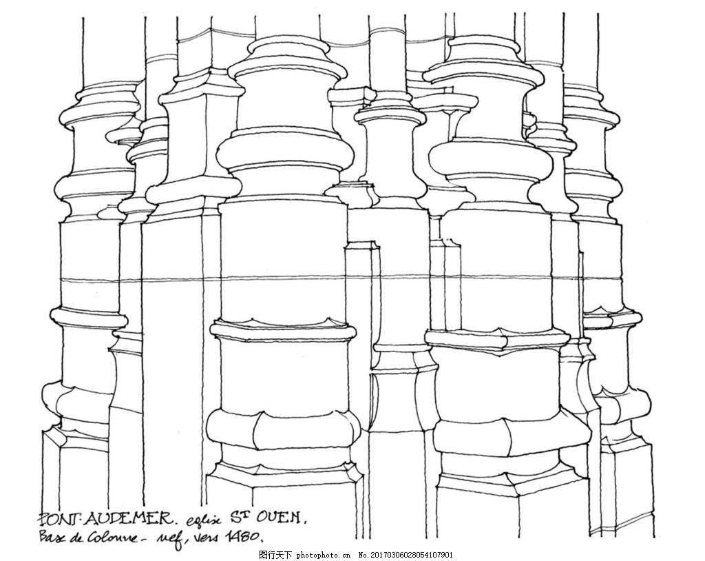 欧式建筑用柱子效果图 建筑平面图素材免费下载 手绘图 图纸 城堡